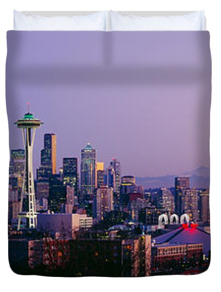 High Angle View Of A City At Sunrise Duvet Cover by Panoramic Images