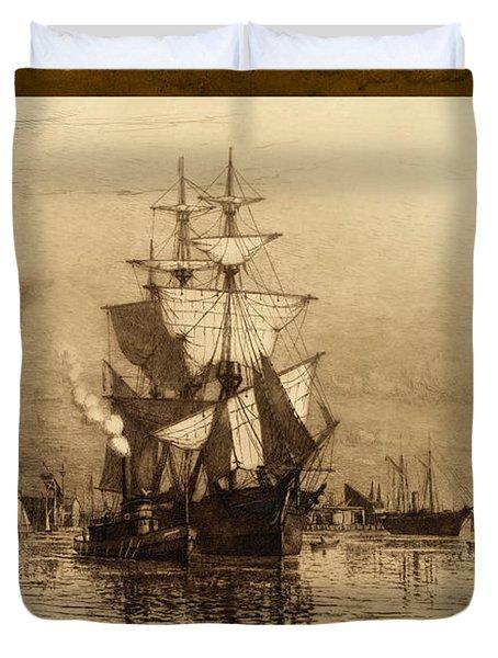 Historic Seaport Schooner Duvet Cover by John Stephens