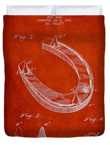 Horseshoe Patent Drawing From 1881 Duvet Cover by Aged Pixel