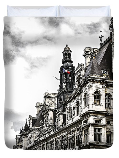 Hotel de Ville in Paris Duvet Cover by Elena Elisseeva