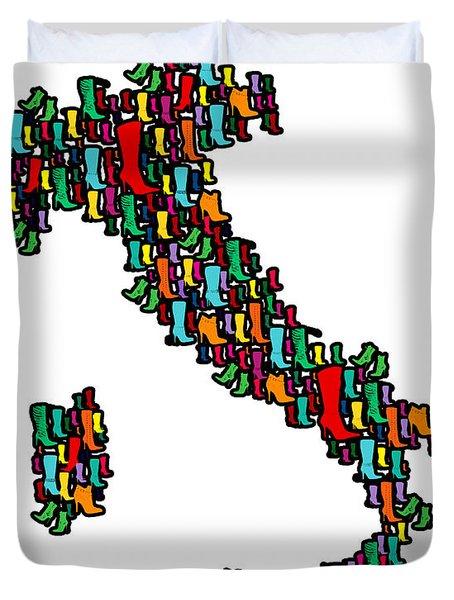 Italy Map Duvet Cover by Mark Ashkenazi