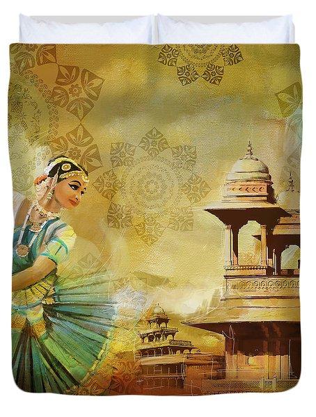 Kathak Dancer Duvet Cover by Catf