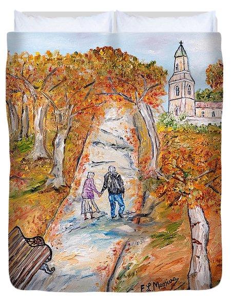 L'autunno della vita Duvet Cover by Loredana Messina