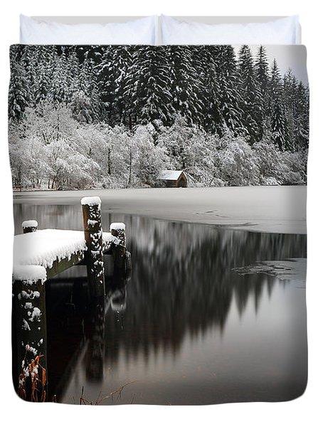 Loch Ard Winter Scene Duvet Cover by Grant Glendinning