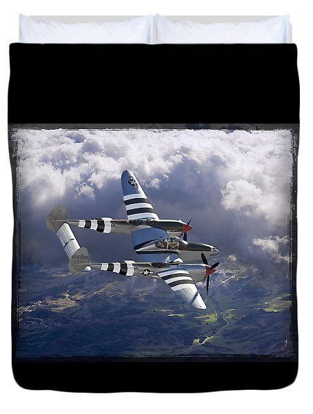 Lockheed P-38 Lightning Duvet Cover by Larry McManus
