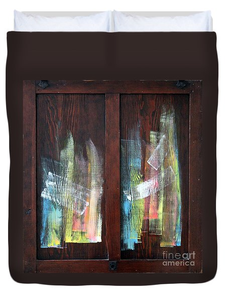 Log Fire Cabinet Door Duvet Cover by Asha Carolyn Young