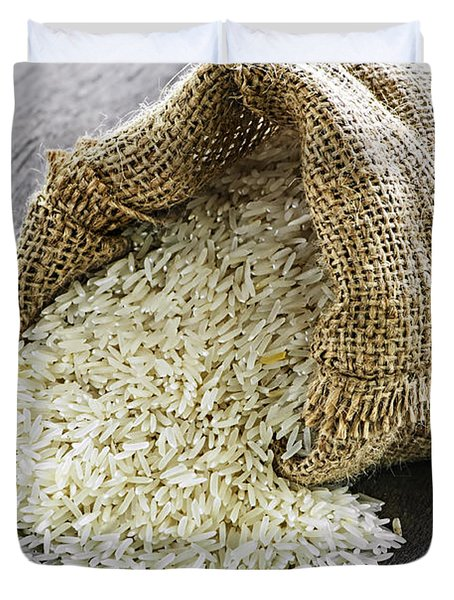 Long grain rice in burlap sack Duvet Cover by Elena Elisseeva