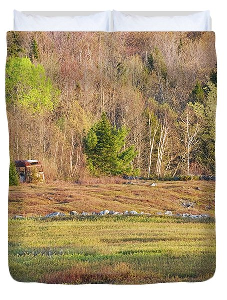 Maine Blueberry Field In Spring Duvet Cover by Keith Webber Jr
