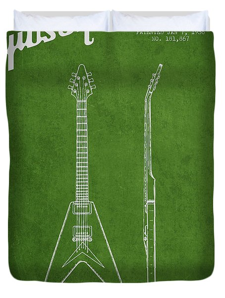 Mccarty Gibson Electric guitar patent Drawing from 1958 - Green Duvet Cover by Aged Pixel