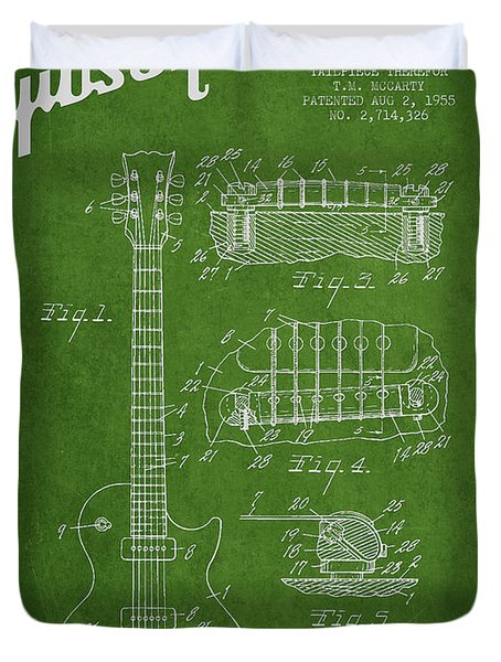 Mccarty Gibson Les Paul guitar patent Drawing from 1955 - Green Duvet Cover by Aged Pixel