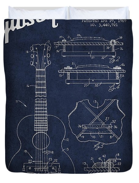 Mccarty Gibson stringed instrument patent Drawing from 1969 - Navy Blue Duvet Cover by Aged Pixel