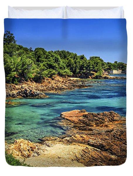 Mediterranean coast of French Riviera Duvet Cover by Elena Elisseeva