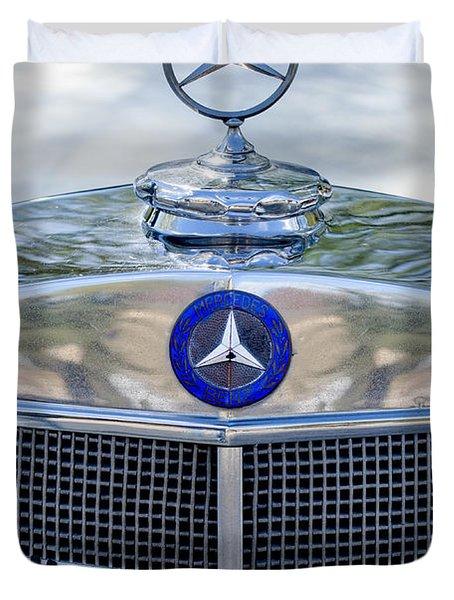 Mercedes-Benz Hood Ornament Duvet Cover by Jill Reger