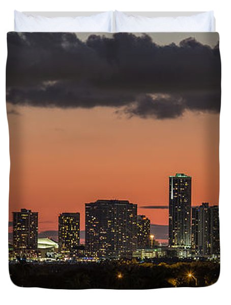 Miami Sunset Skyline Duvet Cover by Rene Triay Photography