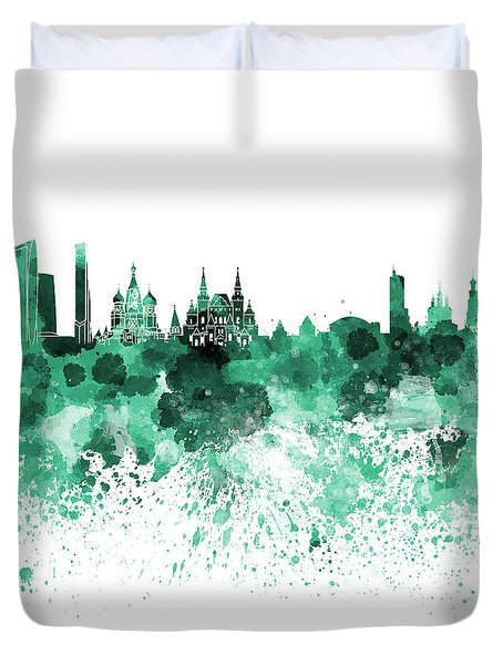 Moscow Skyline White Background Duvet Cover by Pablo Romero