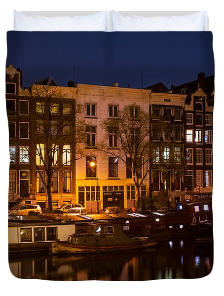 Night Lights On The Amsterdam Canals 7. Holland Duvet Cover by Jenny Rainbow