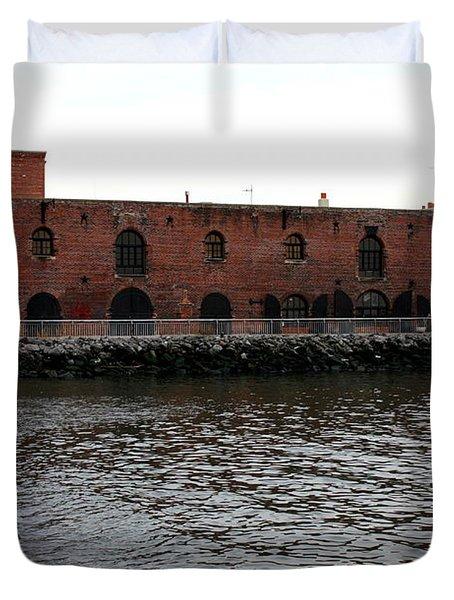 Old Brooklyn Pier Warehouse Duvet Cover by Dora Sofia Caputo Photographic Art and Design