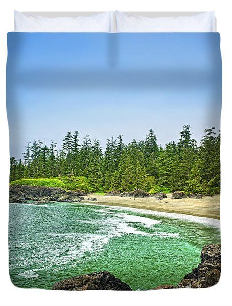 Pacific ocean coast on Vancouver Island Duvet Cover by Elena Elisseeva