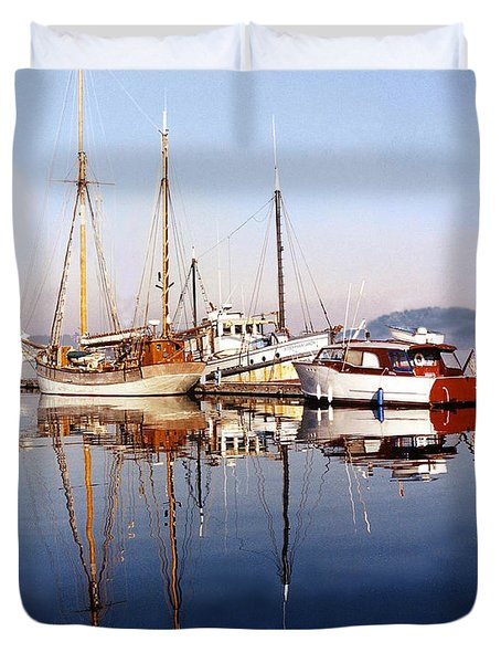 Reflections Port Orchard Marina Duvet Cover by Jack Pumphrey