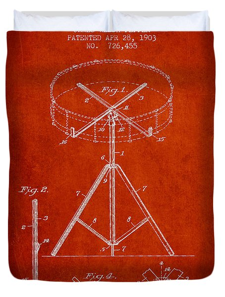 Portable Drum Patent Drawing From 1903 - Red Duvet Cover by Aged Pixel