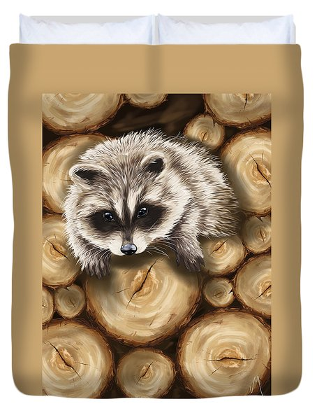 Raccoon Duvet Cover by Veronica Minozzi