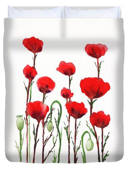 Red Poppies Duvet Cover by Irina Sztukowski
