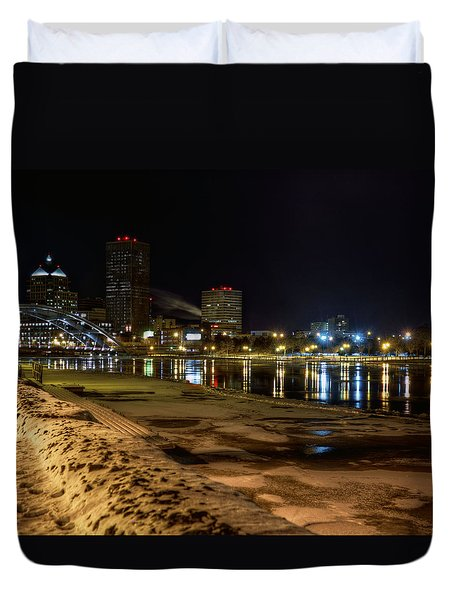 Rochester At Night Duvet Cover by Tim Buisman