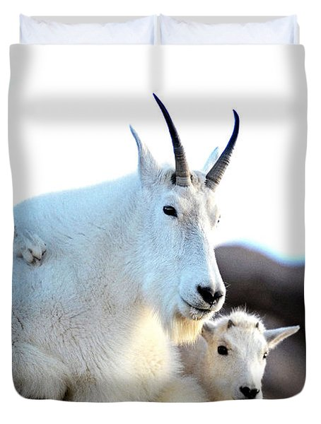 Rocky Mountain Goats 2 Duvet Cover by OLenaArt Lena Owens