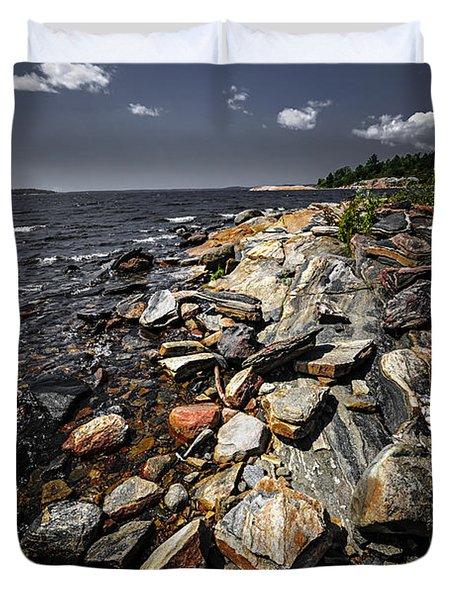 Rocky Shore Of Georgian Bay Duvet Cover by Elena Elisseeva