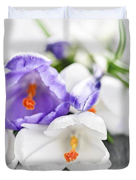 Spring Crocus Flowers Duvet Cover by Elena Elisseeva