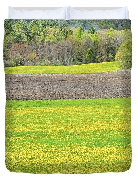 Spring Farm Landscape With Dandelion bloom in Maine Duvet Cover by Keith Webber Jr
