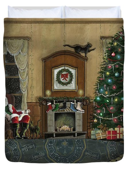 St. Nicholas Sitting In A Chair On Christmas Eve Duvet Cover by John Lyes