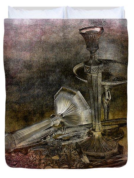 Sterling Silver Scrap Duvet Cover by Gunter Nezhoda