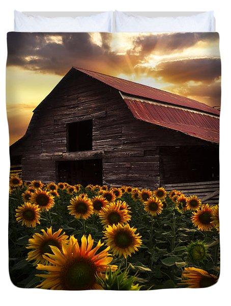 Sunflower Farm Duvet Cover by Debra and Dave Vanderlaan