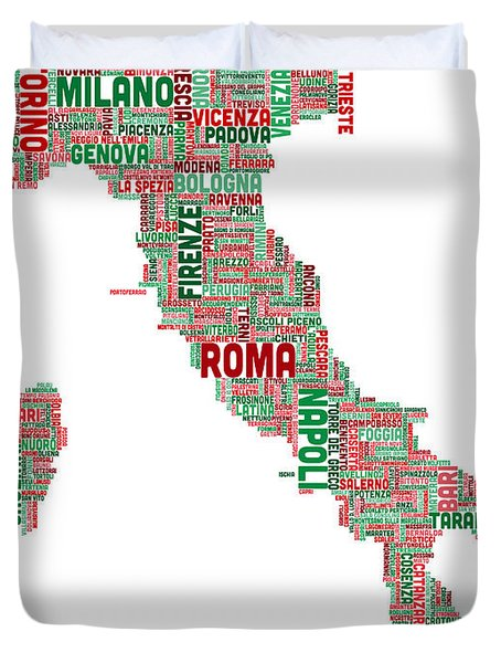 Text Map Of Italy Map Duvet Cover by Michael Tompsett
