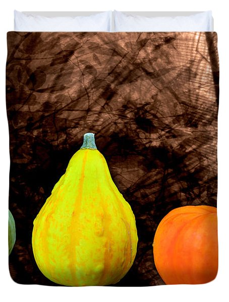 Three Small Pumpkins  Duvet Cover by Toppart Sweden