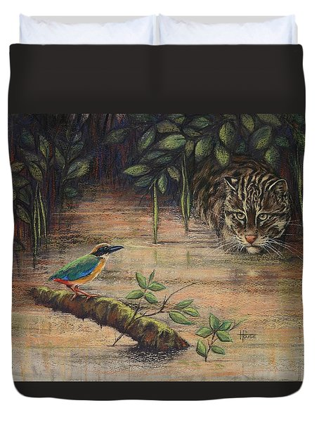 Treading Water Asian Fishing Cat Duvet Cover by Cynthia House