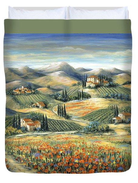 Tuscan Villa And Poppies Duvet Cover by Marilyn Dunlap