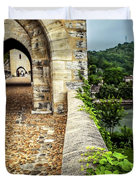 Valentre bridge in Cahors France Duvet Cover by Elena Elisseeva