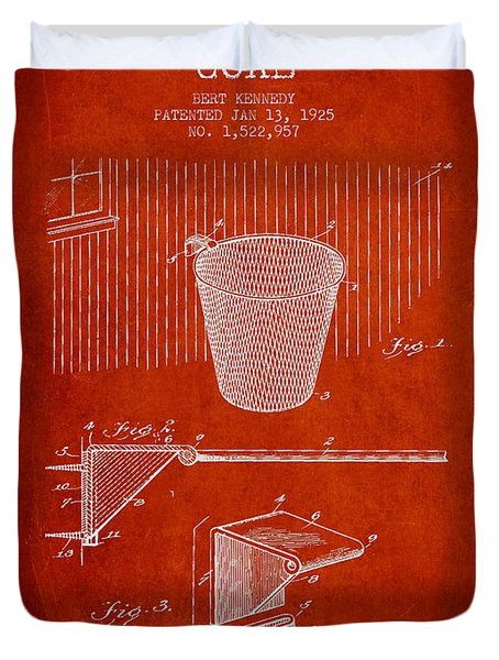 Vintage Basketball Goal Patent From 1925 Duvet Cover by Aged Pixel