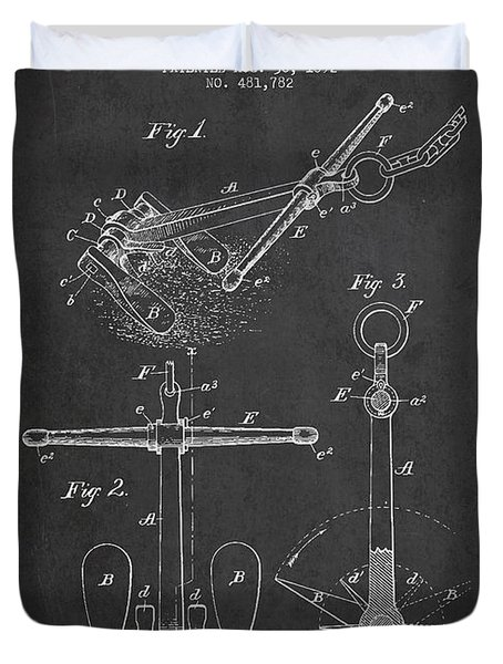 Vintage Ship Anchor Patent From 1892 Duvet Cover by Aged Pixel