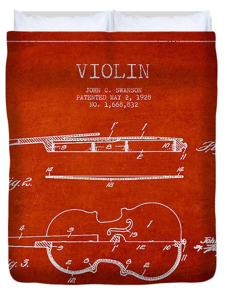 Vintage Violin Patent Drawing From 1928 Duvet Cover by Aged Pixel