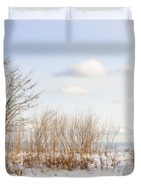 Winter shore of lake Ontario Duvet Cover by Elena Elisseeva