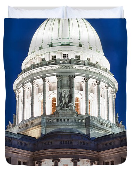 Wisconsin State Capitol Building At Night Duvet Cover by Sebastian Musial