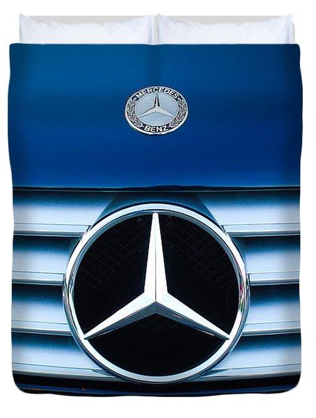 2003 CL Mercedes Hood Ornament and Emblem Duvet Cover by Jill Reger