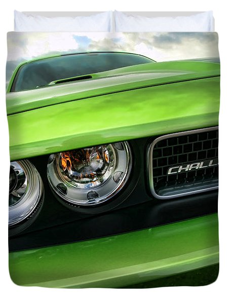 2011 Dodge Challenger Srt8 Green With Envy Duvet Cover by Gordon Dean II