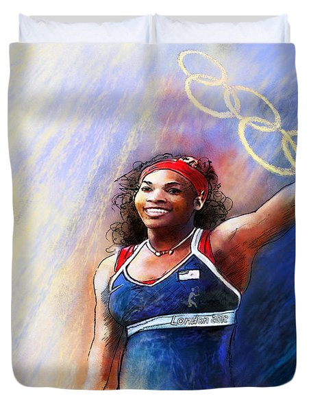 2012 Tennis Olympics Gold Medal Serena Williams Duvet Cover by Miki De Goodaboom