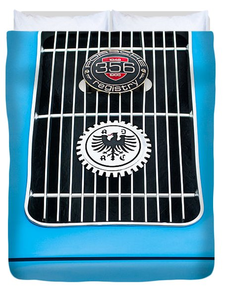1960 Volkswagen Vw Porsche 356 Carrera Gs Gt Replica Emblem Duvet Cover by Jill Reger