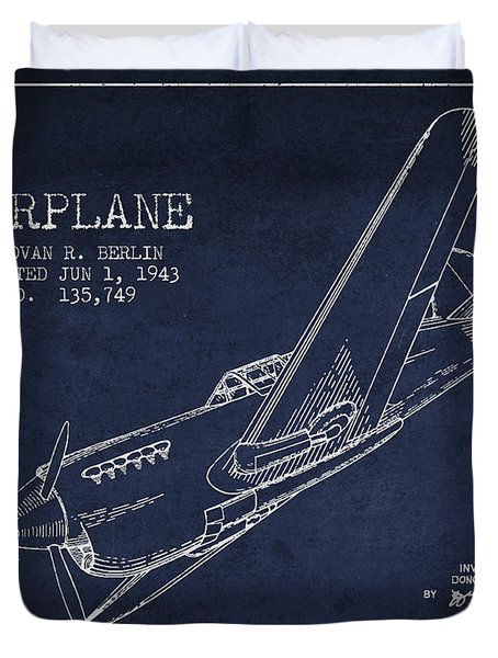 Airplane Patent Drawing From 1943 Duvet Cover by Aged Pixel