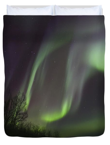 Aurora Borealis By Fish Lake Duvet Cover by Joseph Bradley